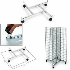 CHROME 4 SIDED GRIDWALL BASE FOR USE ON GRIDWALL MESH WALL 4 WAY DISPLAY PANELS