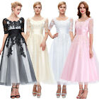 Tea Length Lace Wedding Prom Ball Gown Evening Formal Party Dress Plus Size 2-24