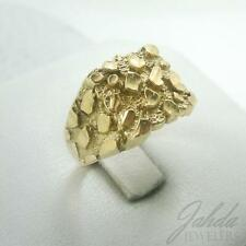 NEW Extra Large 10K Yellow Gold Men's Nugget Ring 5.3 Grams Size 10 Diamond Cuts