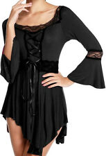 ZS9 Funfash Women's Top Gothic Black Lace Corset Shirt Blouse Size Large 9 11