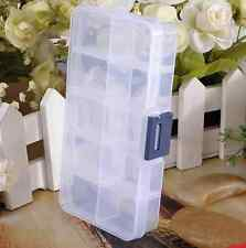 10 Detachable Compartment Rhinestones Box Case Crafts Nail Art Tips Storage PAT