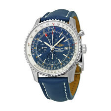 Breitling Navitimer World Automatic Chronograph Blue Dial Blue Leather Mens