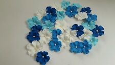 Edible Sugar Blue Shade and White Veined Flowers Cupcake Cake Wedding 30 Topper