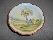 """Vintage -- Hand-Painted Nippon Bowl  - green """"M"""" mark - TREES / HOUSE"""