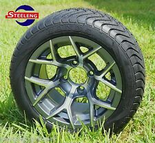 "GOLF CART 12"" GUNMETAL RALLY WHEELS and 215/40-12 LOW PROFILE TIRES (SET OF 4)"