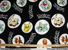 Black POKEMON Character FLEECE FABRIC By-The-Yard Pikachu and more!