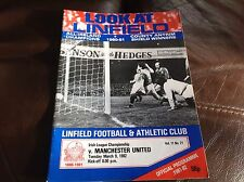 Linfield verses Manchester United Friendly 9.3.1982