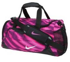 ** NIKE PINK STRIPED FITNESS MINI DUFFLE HOLDALL GYM SPORT FITNESS BAG **