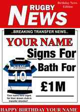A5 Personalised BATH Rugby Greeting Birthday Card Rugby PID130