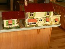 Large vintage Marx 1950s 2 story tin metal litho doll house & game room addition