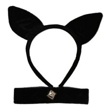 Black Velvet Cat Ears Alice Hair Band and Collar Bell Set Fancy Dress Party Hen