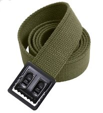 "NEW GREEN CANVAS WEB MILITARY ARMY BELT BLACK BUCKLE MARINE 54"" w P38 SHELBY USA"