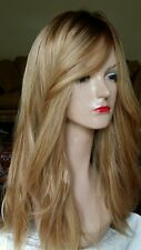 NEW 100% HUMAN HAIR MEDIUM BLONDE LOWLIGHTS WIG MULTI DIRECTION SILK TOP HAND