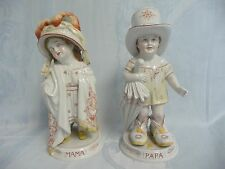 PAIR OF ANTIQUE PARIS PORCELAIN FIGURINES-MAMA & PAPA-CHILDREN PLAYING DRESS UP