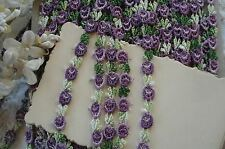 1y VTG TINY PURPLE SCHIFFLI VENISE FLOWERS ROSE FRENCH DOLL APPLIQUE RIBBON TRIM
