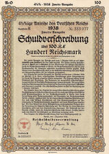 Rare 100 RM German War Bond Reichs Eagle (CV: $299.95)  - UNCANCELLED