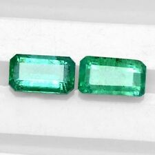2.27 Cts Natural Green Emerald Cut Loose Gemstone Octagon pair Zambia Untreated