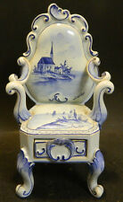 Antique Delft Porcelain Blue On White Chair w/ Drawer Makers Mark Excellent Cond