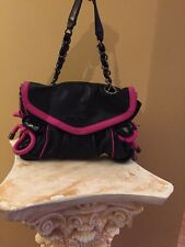BETSY JOHNSON BLACK 100%LAMB LEATHER HANDBAG WITH HOT PINK ACCENTS CHIC!