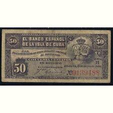 Banco Español de Cuba. 50 centavos La Habana 15 Mayo 1896. muy bonito MBC VF
