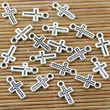 60pcs tibetan silver plated little cross pendant charms EF1709
