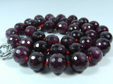 "New 8mm Faceted Garnet Red Gemstone Round Beads Necklace 18"" AAA"