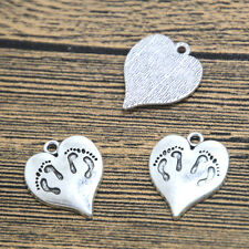 12pcs twins baby feet heart Charms silver tone heart charm pendant 21x18mm