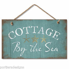 Retro Wooden Sign Wall Plaque Cottage By the Sea Beach House Pool Gazebo