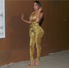 New brown velvet deep V-neck jumpsuit catsuit club summer wear size M UK 10-12