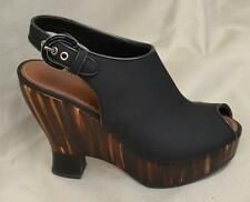 Proenza Schouler Black Leather /Wooden Wedge Shoes Sz 37/6.5 US NEW IN BOX $1333