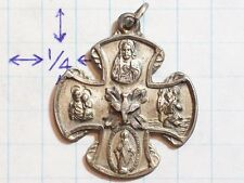 PENDANT CROSS WIDE DOVE ANTIQUE VINTAGE OH MARY CONCEIVED WITHOUT SIN PRAY FOR U