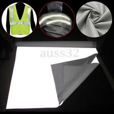 1Mx0.5M Sew On DIY Silver Reflective Fabric Safety Tape Black Sew-On 20'' x 39''
