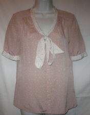 JASON WU For Target Pink & White Polka Dot Bow Blouse size S Womens Small