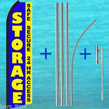 STORAGE Safe Secure 24 Hr FLUTTER FEATHER FLAG + POLE KIT Swooper Banner Sign