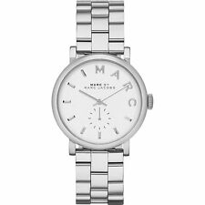 NEW MARC JACOBS MBM3242 BAKER SILVER STAINLESS STEEL WHITE DIAL WOMEN'S WATCH