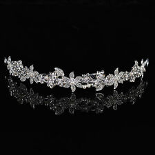 Wedding Pearl Tiara Crystal Bride Bridesmaid Flower Girls Prom Queen Crown Veil