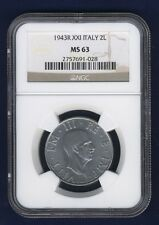 ITALY KINGDOM 1943-R YR.XXI  2 LIRE CHOICE UNCIRCULATED COIN, NGC CERTIFIED MS63