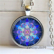 Vintage Purple Lotus Cabochon Silver plated Glass Chain Pendant Necklace @45