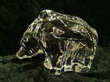 Signed Orrefors Sweden Clear Studio Art Glass Grizzly Bear Sculpture Paperweight