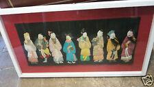 Quadro con personaggi orientali in carta e tessuto