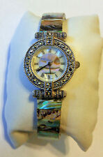 LA Express Quartz Watch Abalone Shell Dial/Band & Marcasite Studded Bezel