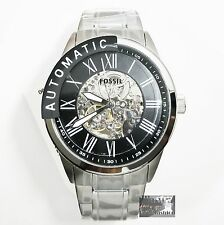 NEW FOSSIL MEN'S STAINLESS STEEL AUTOMATIC SKELETON DIAL SILVER WATCH BQ1700