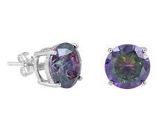 10MM Round Cut Mystic Topaz CZ .925 Sterling Silver Casting Set Stud Earrings