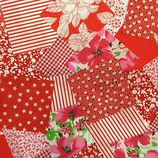 "100 x 4"" Red Poly cotton Fabric patchwork squares Craft Quilting"