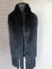 New Braid real fox fur scarf /collar/wrap big size black shawl /cape 185*20cm 1