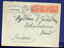 FRANCE SEMEUSE Yt 199   sur lettre   vers la SUISSE  1927 FA59