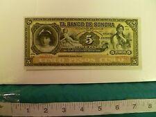 1911 MEXICO EL BANCO DE SONORA 5 PESOS AU-UNC FREE SHIPPING