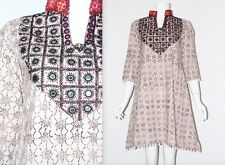 Vintage 90's Cream Brown PATTERN BOBBLE HEM HIPPY ETHNIC SHORT FESTIVAL Dress S