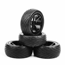 UK 4Pcs 1/10 Scale RC Off-Road Buggy Car Front & Rear Rubber Tyres and Wheel