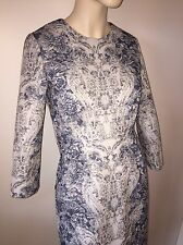 DOLCE & GABBANA FLORAL PRINT 3/4 SLEEVE BEIGE GRAY  DRESS 42 6-8